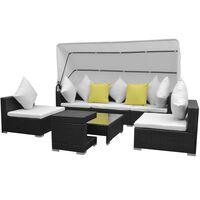 vidaXL 7-dielna záhradná sedacia súprava+baldachýn, polyratan, čierna