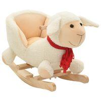 vidaXL Hojdacie zvieratko, ovca s operadlom plyšové 60x32x50 cm biele