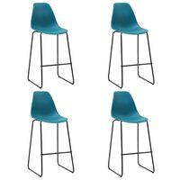 vidaXL Barové stoličky 4 ks, tyrkysové, plast