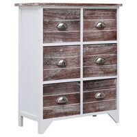 vidaXL Príručná skrinka so 6 zásuvkami hnedá 60x30x75 cm drevo paulovnie