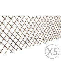 vidaXL Mriežkový plot z vŕbového prútia 5 ks 180x90 cm