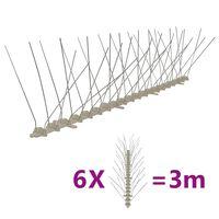 vidaXL Hroty proti vtákom, plast, 4 rady, sada 6 ks 3 m
