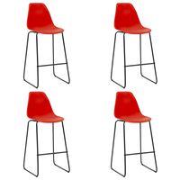 vidaXL Barové stoličky 4 ks, červené, plast