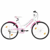 vidaXL Detský bicykel ružovo-biely 24 palcový