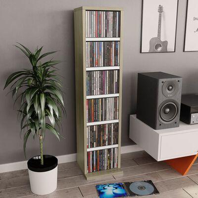 vidaXL Skrinka na CD, biela a dub sonoma 21x20x88 cm, drevotrieska
