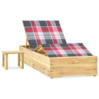 vidaXL Záhradné ležadlo so stolom a vankúšom impregnované borovicové drevo