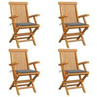 vidaXL Záhradné stoličky, sivé podložky 4 ks, tíkový masív