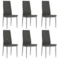 vidaXL Jedálenské stoličky 6 ks, sivé, umelá koža
