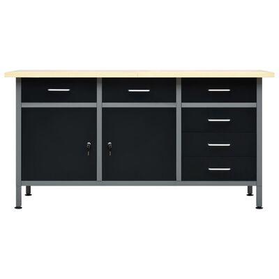 vidaXL Pracovný stôl čierny oceľový 160x60x85 cm