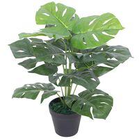 vidaXL Umelá rastlina, monstera s kvetináčom 45 cm, zelená