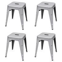 vidaXL Stohovateľné stoličky 4 ks, sivé, oceľ