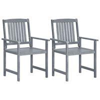 vidaXL Záhradné stoličky 2 ks, sivé, akáciový masív
