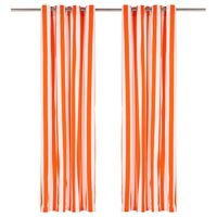 vidaXL Závesy s kovovými očkami 2 ks látka 140x245cm oranžové prúžky