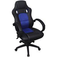 Modré kancelárske kreslo z umelej kože v podobe pretekárskeho sedadla vidaXL