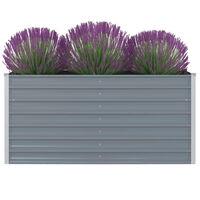 vidaXL Vyvýšený záhradný kvetináč, 160x80x77 cm, pozinkovaná oceľ, šedá