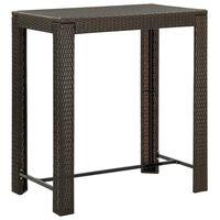 vidaXL Záhradný barový stolík hnedý 100x60,5x110,5 cm polyratanový