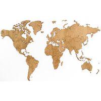 MiMi Innovations Nástenná mapa sveta Exclusive, dubové drevo 130x78 cm