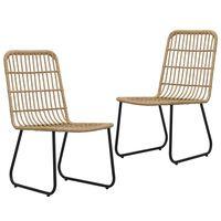vidaXL Záhradné stoličky 2 ks, polyratan, dubová farba