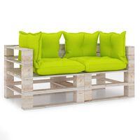 vidaXL 2-miestna záhradná pohovka z paliet+podložky, borovicové drevo