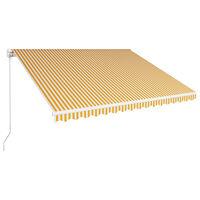vidaXL Ručná zaťahovacia markíza 400x300 cm žltá a biela