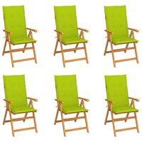 vidaXL Záhradné stoličky 6 ks s jasnozelenými podložkami tíkový masív