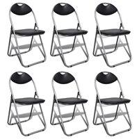 vidaXL Skladacie jedálenské stoličky 6 ks, čierne, umelá koža a oceľ