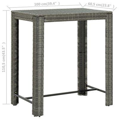 vidaXL 7-dielna záhradná barová súprava s vankúšmi polyratanová sivá