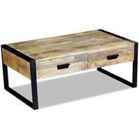 vidaXL Konferenčný stolík s 2 zásuvkami, masívne mangové drevo, 100x60x40 cm