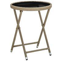 vidaXL Čajový stolík béžový 60 cm polyratan a tvrdené sklo