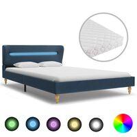vidaXL Posteľ s LED a matracom, modrá, látka 140x200 cm