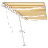 vidaXL Automatická markíza s LED a senzorom vetra 600x350 cm žlto-biela
