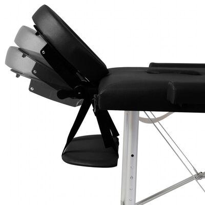 Čierny skladací masážny stôl, 2 zóny, hliníkový rám