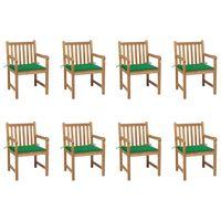 vidaXL Záhradné stoličky 8 ks so zelenými podložkami tíkový masív