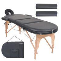 vidaXL Skladací masážny stôl, 4 cm hrubý, 2 podhlavnky, oválny, čierny