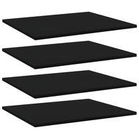 vidaXL Prídavné police 4 ks, čierne 60x50x1,5 cm, drevotrieska