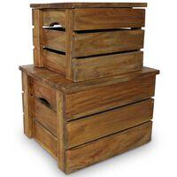vidaXL Súprava úložných debien, 2 kusy, masívne recyklované drevo