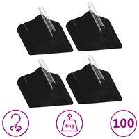 vidaXL 100-dielna sada vešiakov na oblečenie protišmyková čierna zamatová