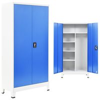 vidaXL Kovová šatňová skrinka s 2 dverami, 90x40x180 cm, šedá a modrá