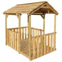 vidaXL Vonkajší domček na hranie 122,5x160x163 cm, borovica