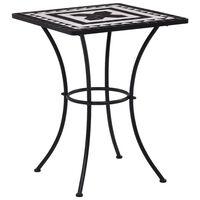 vidaXL Mozaikový bistro stolík, čierno biely 60 cm, keramika