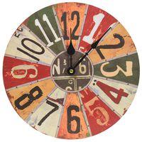 vidaXL Nástenné hodiny viacfarebné 30 cm MDF