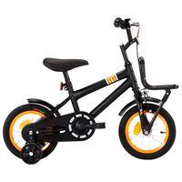 vidaXL Detský bicykel s predným nosičom čierny a oranžový 12 palcový
