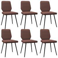 vidaXL Jedálenské stoličky 6 ks, hnedé, látka