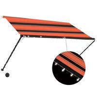 vidaXL Zaťahovacia markíza s LED 250x150 cm oranžová a hnedá