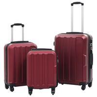 vidaXL 3-dielny set cestovných kufrov tvrdý kryt vínovo-červená ABS