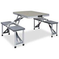 vidaXL Skladací kempingový stôl so 4 sedadlami oceľový hliníkový