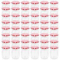vidaXL Zaváracie poháre s bielo-červenými viečkami 48 ks 230 ml sklo
