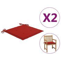 vidaXL Podložky na záhradné stoličky 2 ks, červené 50x50x4 cm