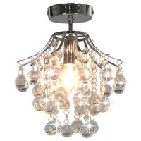 vidaXL Stropná lampa s kryštálovými korálkami strieborná okrúhla E14