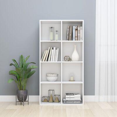vidaXL Knižnica/komoda lesklá biela 66x30x130 cm drevotrieska